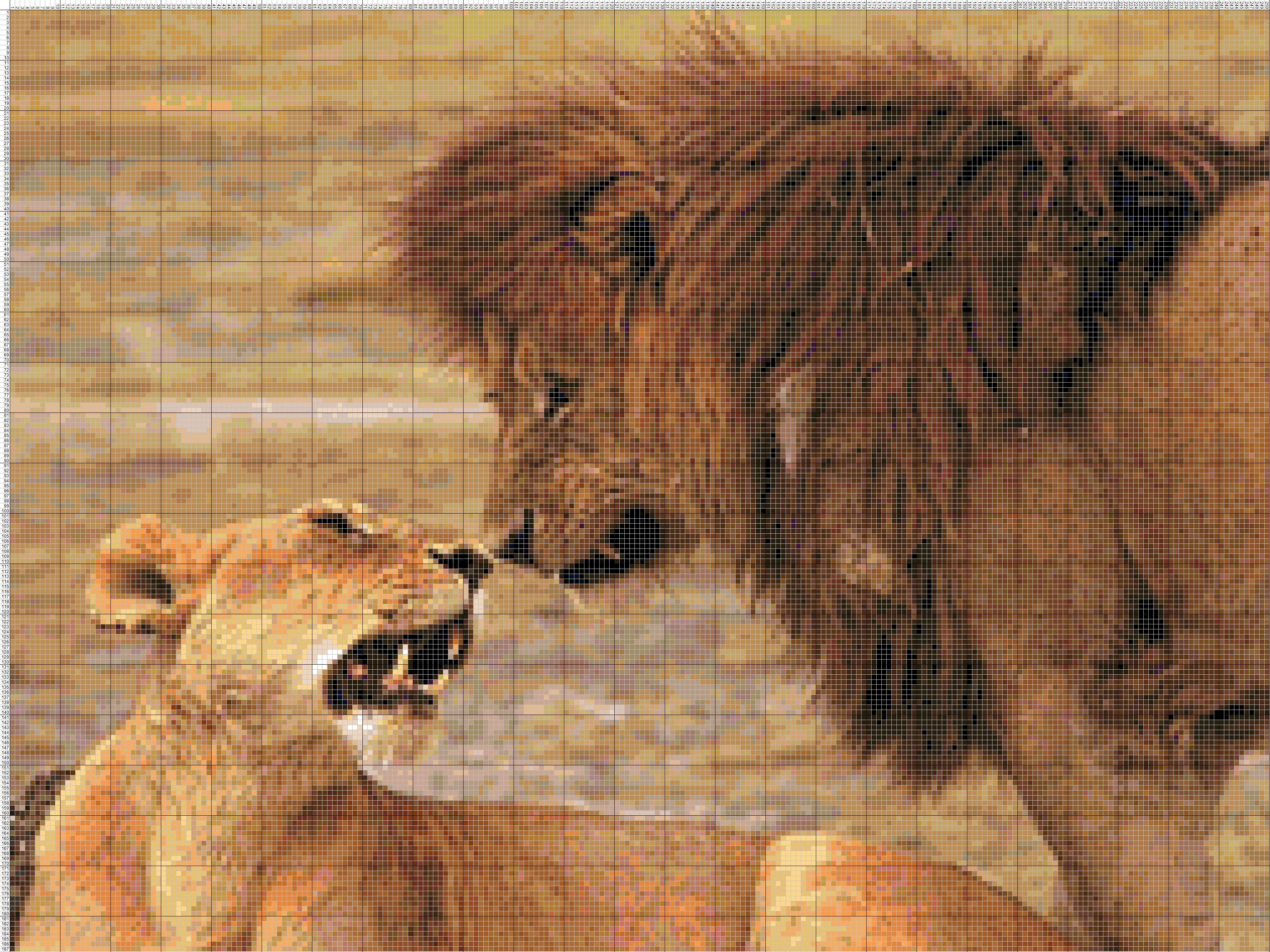 Вышивка крестиком львы схема